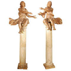 Pair of 17th c. Italian Figures on 19th c. Marble Pillars