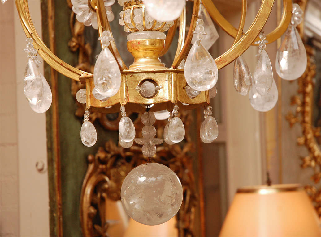 Karat Yellow Gold Rock Crystal Chandelier By Villa Melrose For - Yellow chandelier crystals