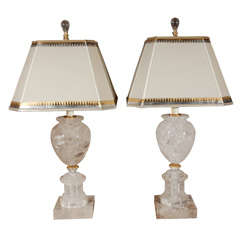 Pair of Rock Crystal Urn Lamps