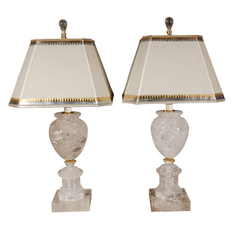 Pair of Rock Crystal Urn Lamps