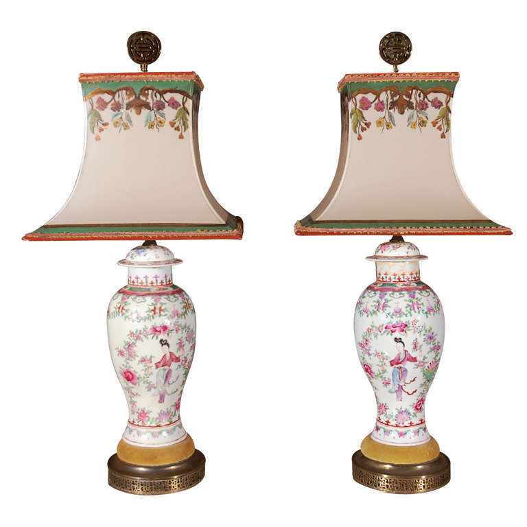 Pair of Late 19th Century Hand-Painted Chinese Urn Lamps
