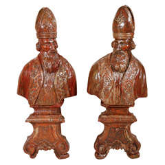Pair of 18th Century Carved Wood Italian Popes