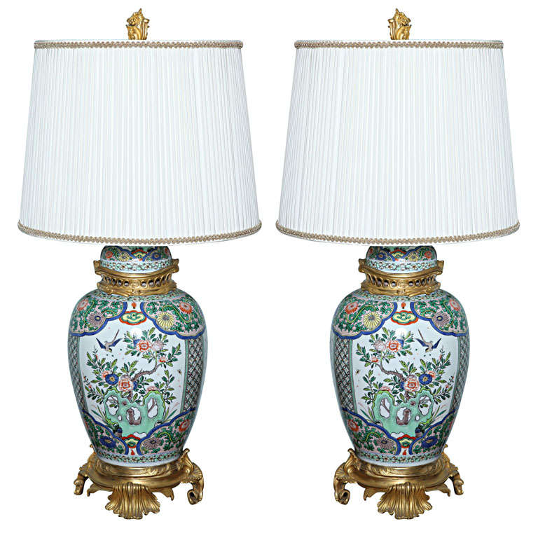 Superb Large And Beautiful Pair Of French, 19th Century Chinoiserie Lamps At  1stdibs