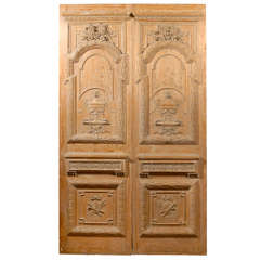 Exceptional Pair of French late 18th.C. Carved Pine Doors.