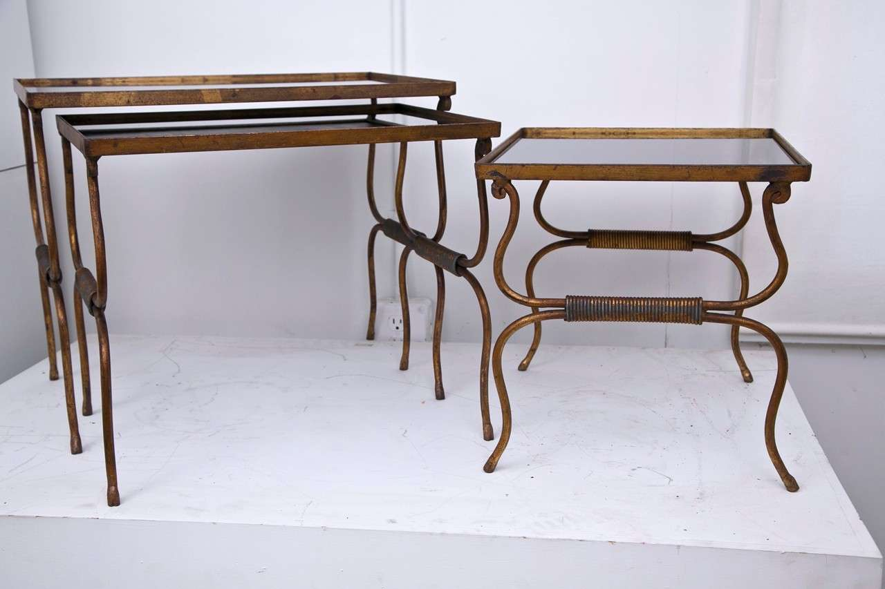 French set of three gilded metal nesting tables at stdibs