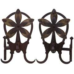 Louis Majorelle Wrought Iron & Brass Andirons