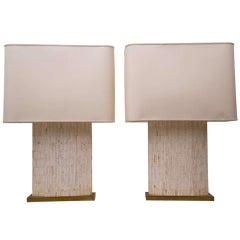 Pair of Charles Vandehove Bone Inlay Geometric Lamps