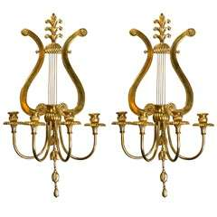 Pair of Caldwell Lyre Sconces