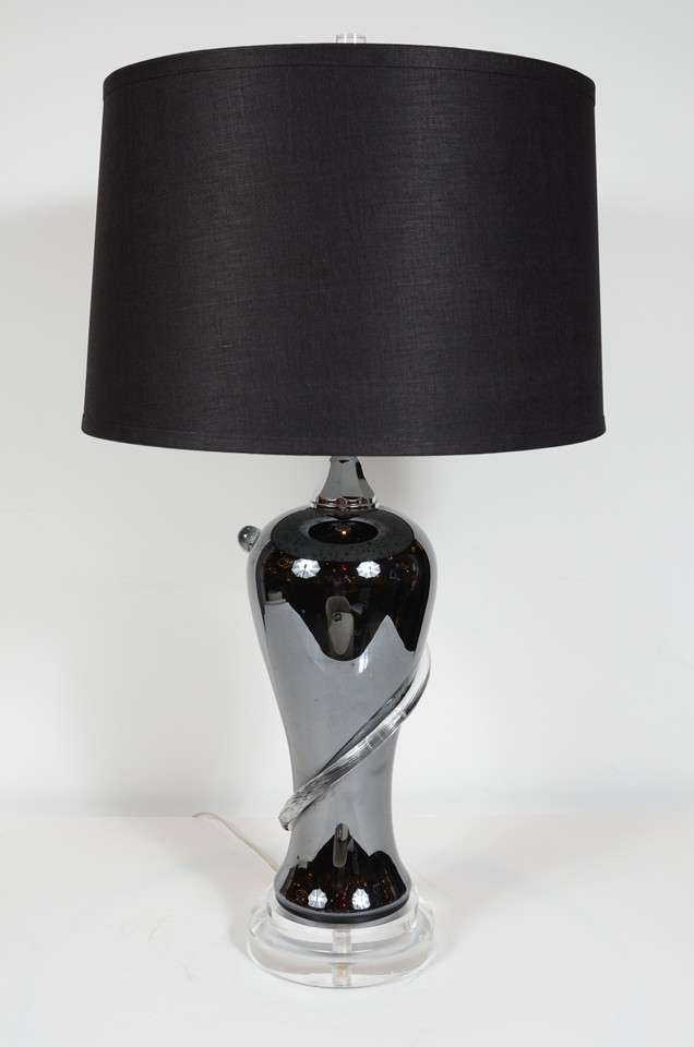 Modernist Hand Blown Black Glass Swirl Table Lamp For Sale