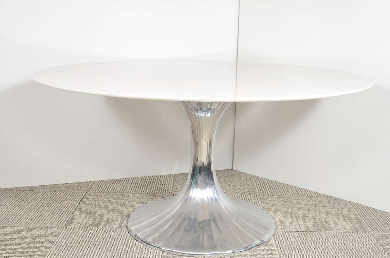 Modernist white granite and fluted metal base dining table - White metal dining table ...