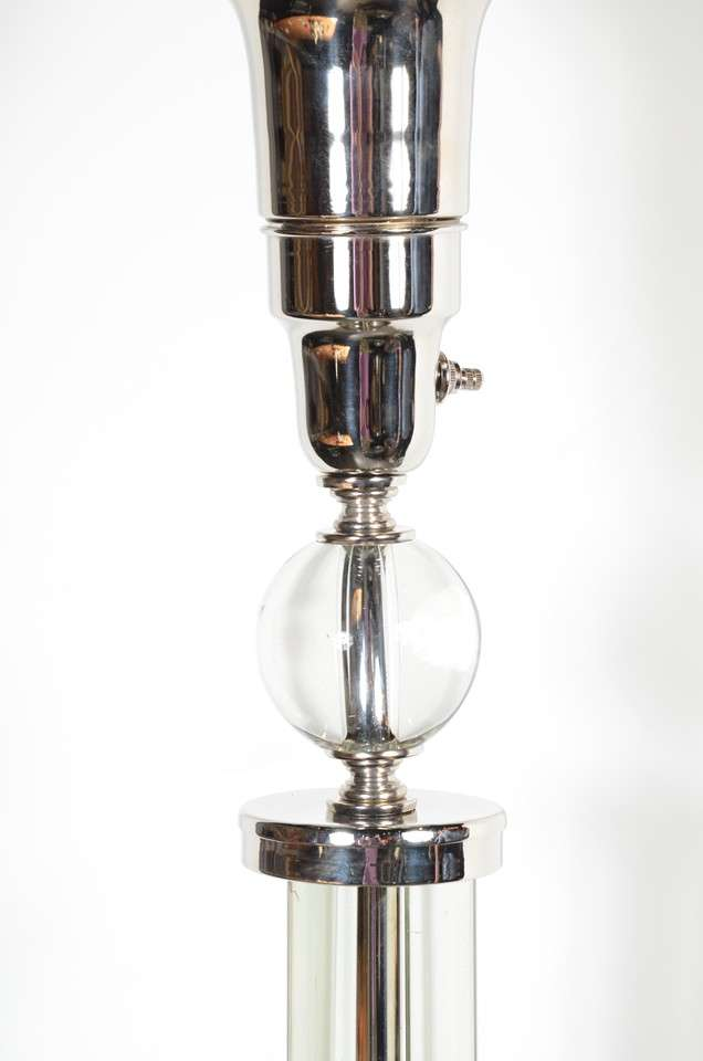 deco machine age torchiere in nickel and glass at 1stdibs