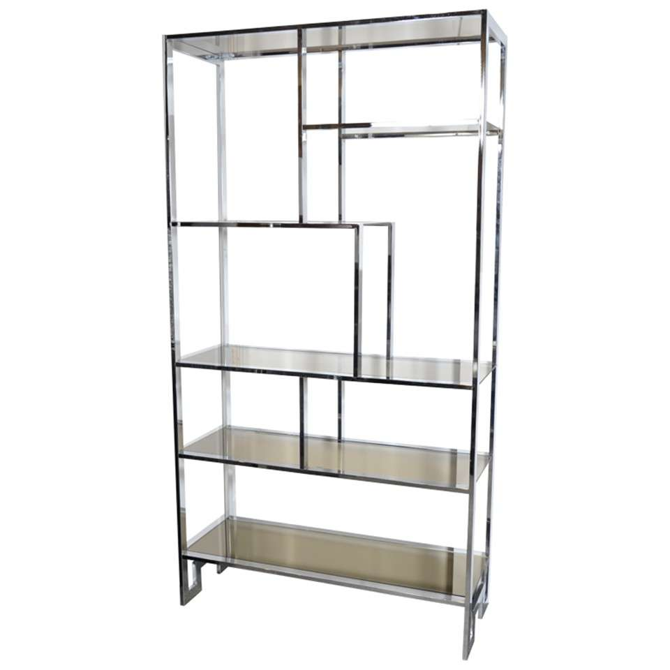 Modernist chromed etagere with bronze mirror and smoked for Miroir etagere