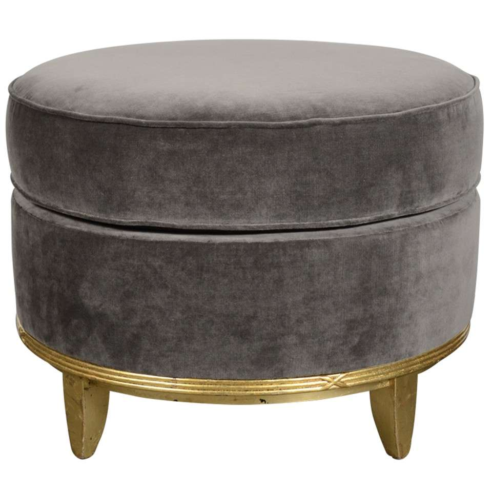 art deco normandy ottoman in grey mohair and gilt detailing at 1stdibs. Black Bedroom Furniture Sets. Home Design Ideas