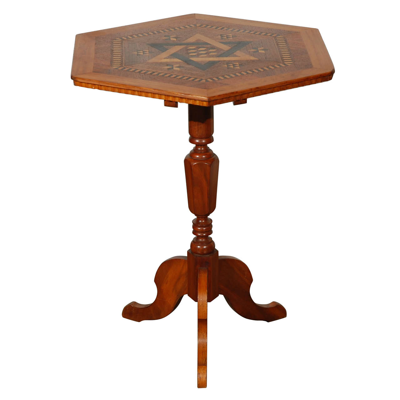 Antique Parquetry Top Game Table or Candle Stand at 1stdibs