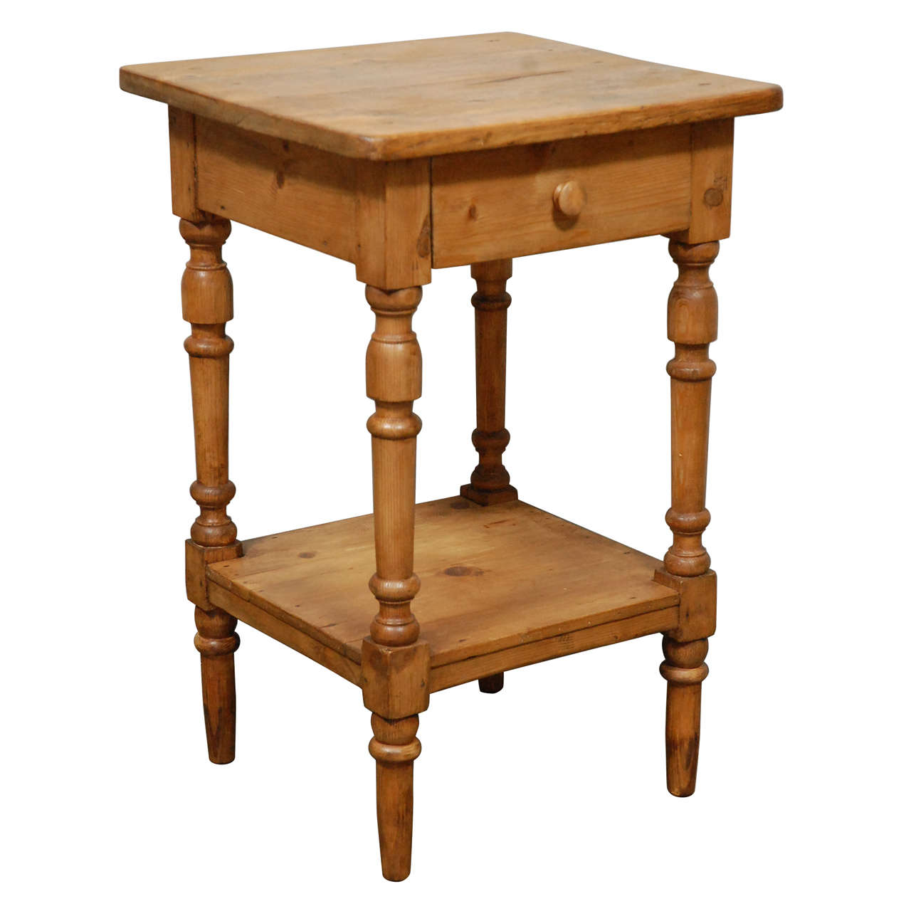 Antique Turned Leg Side Table Nightstand At 1stdibs