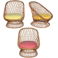 Jean Royère Documented Genuine Riviera Rattan Chairs from the 1950s