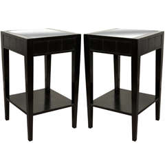 Two 1930s Black Lacquered End or Night Tables