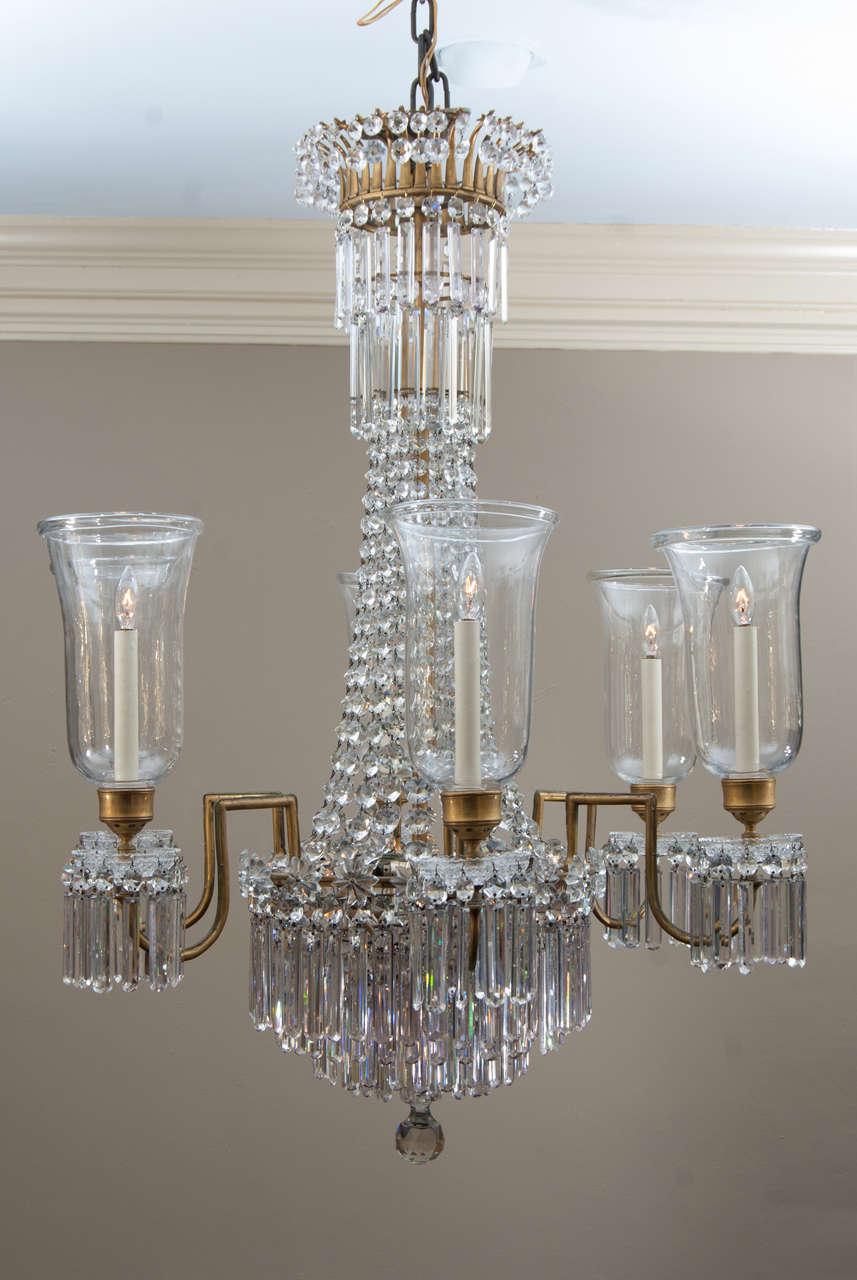 Neoclassical Regency 12 Light Bronze Crystal Chandelier, Attrib. to John Blades, Circa:1810 For Sale