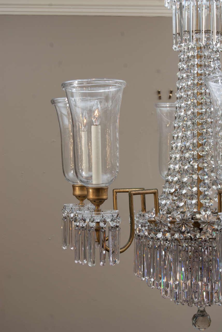 Regency 12 Light Bronze Crystal Chandelier, Attrib. to John Blades, Circa:1810 For Sale 1