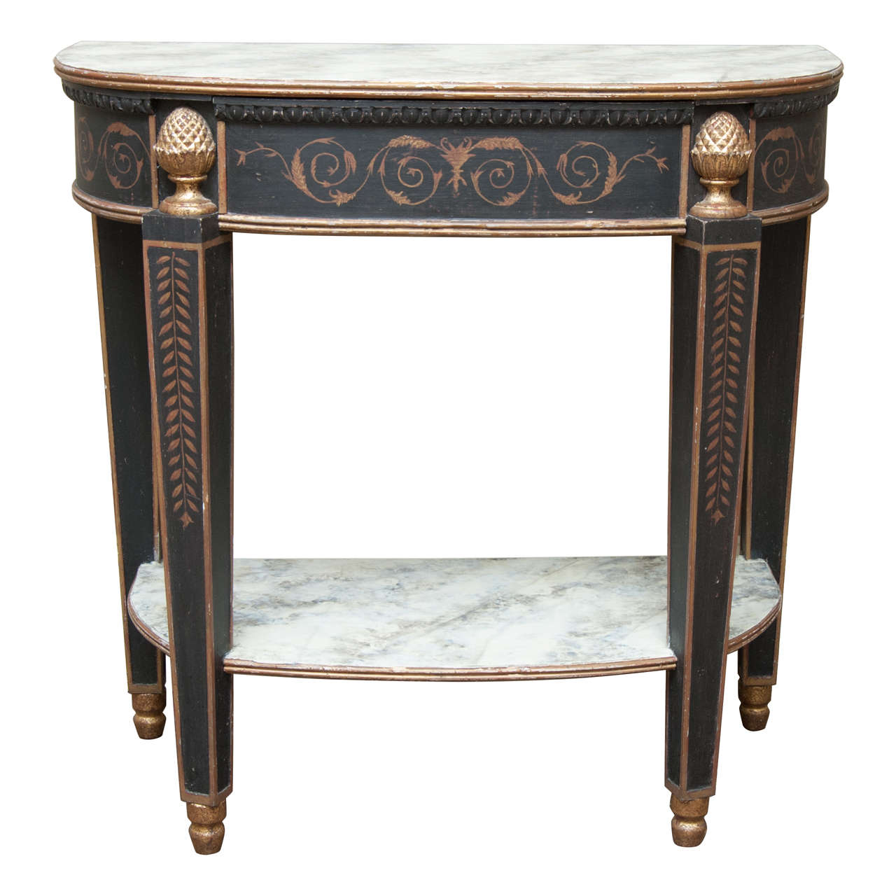 Faux painted console table at 1stdibs for Painted foyer tables