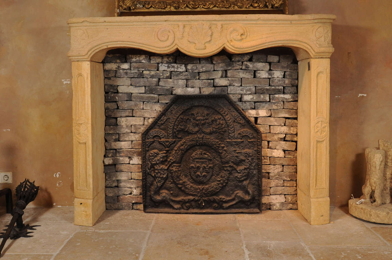 a mid 18th c french baroque fireplace mantel piece for sale at
