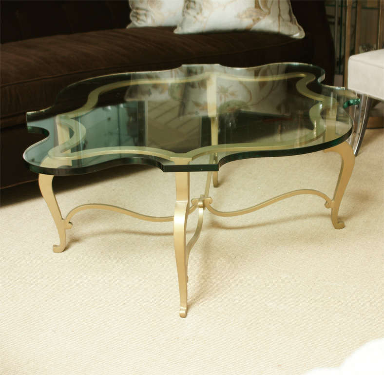 Custom Made Gilt Metal And Glass Cocktail Table At 1stdibs