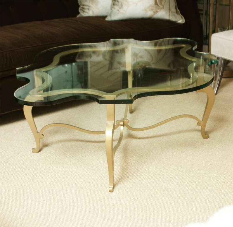 Custom Brass Coffee Table: Custom Made Gilt Metal And Glass Cocktail Table At 1stdibs