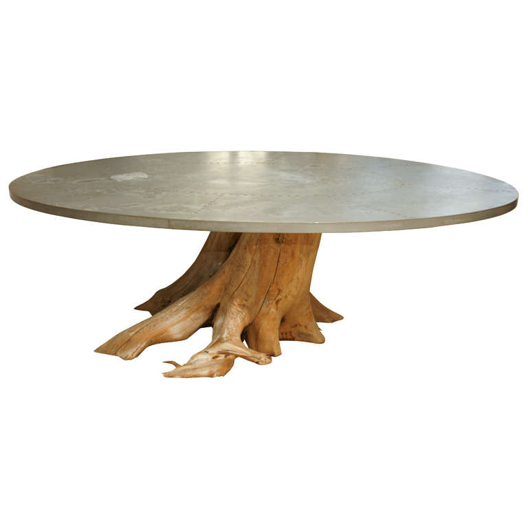Spectacular Oval Zinc Top Dining Table At 1stdibs