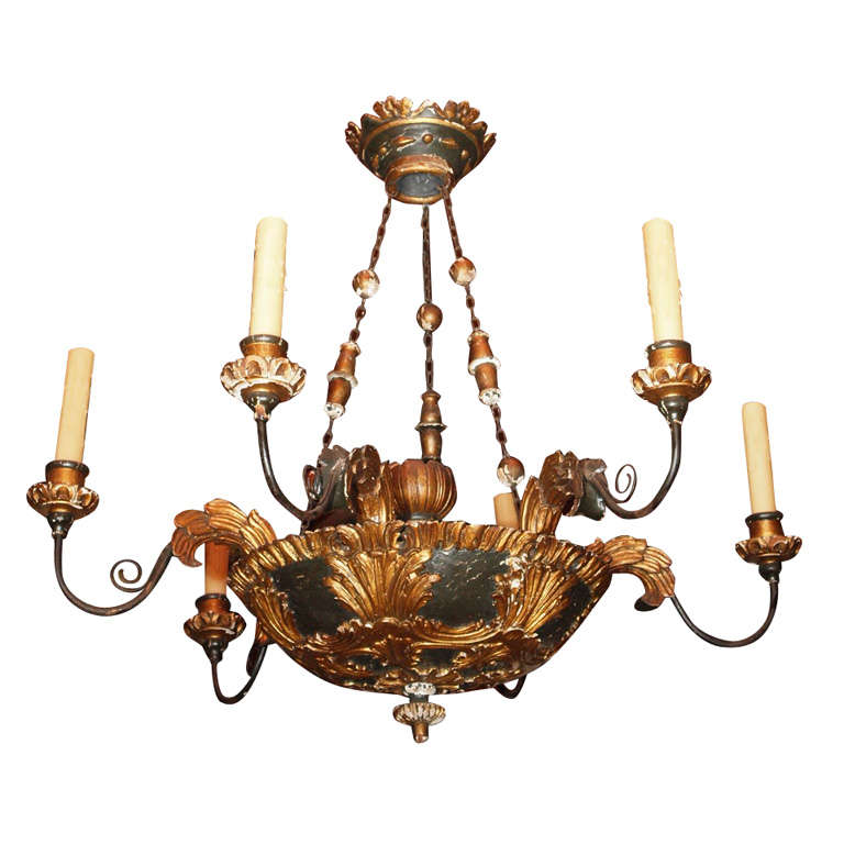 Italian Painted And Gilded Carved Wood Chandelier At 1stdibs