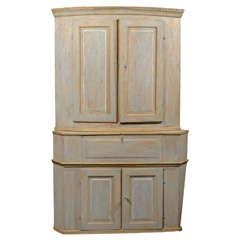 Large 19th Century Swedish Painted Wood Corner Cabinet