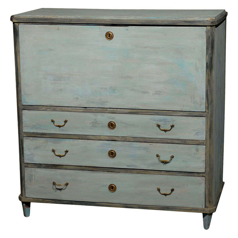 Swedish, 19th Century, Karl Johan Painted Wood Drop Front Desk For Sale