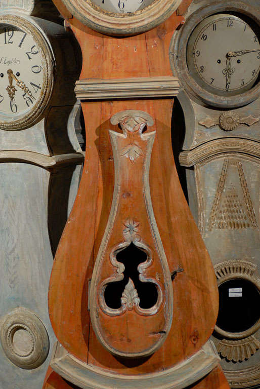 A 19th Century Swedish Wood Floor Clock, Original Orange Paint and Unusual Crest 1