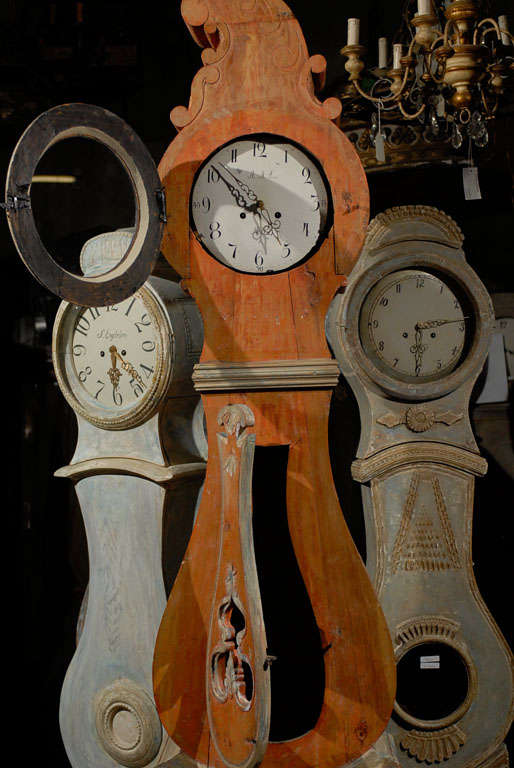 A 19th Century Swedish Wood Floor Clock, Original Orange Paint and Unusual Crest 4