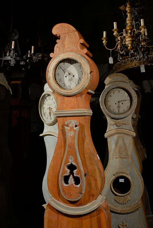 A 19th Century Swedish Wood Floor Clock, Original Orange Paint and Unusual Crest 6