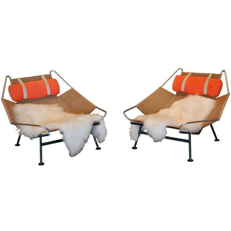 Pair Of Hans Wegner 'halyard' Chairs , Denmark 1957