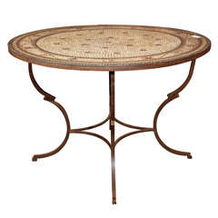 Round Mosaic Top Garden Dining Table