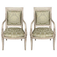 Exquisite Pair of 19th c. French Neoclassical Fauteuils