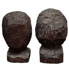 19th Century Primitive Carved Wooden Studio Heads