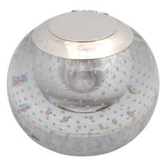 "Sterling Silver-Mounted ""Controlled Bubbles"" Crystal  Inkwell"