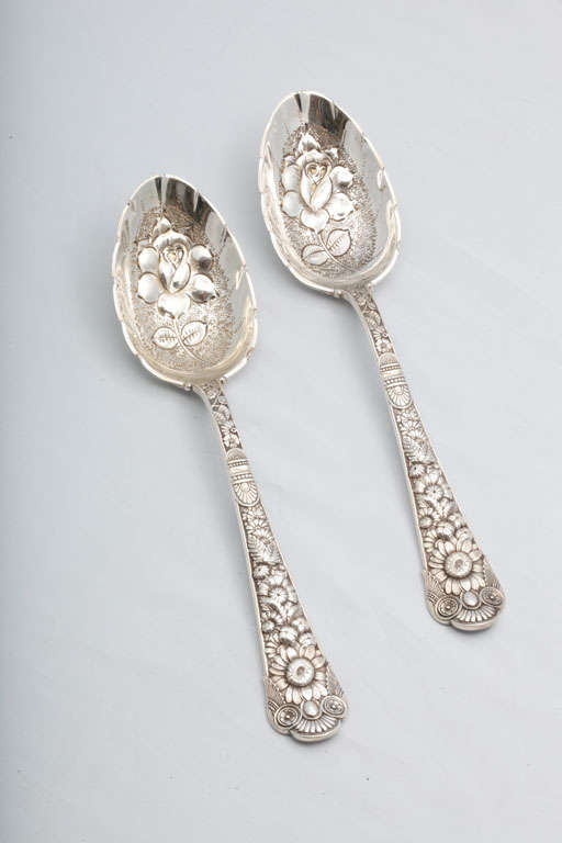 "Rare Pair of Sterling Silver ""Cluny"" Berry Spoons 2"