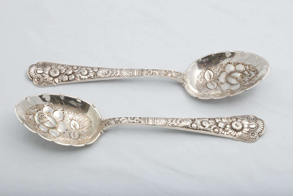 "Rare Pair of Sterling Silver ""Cluny"" Berry Spoons 3"