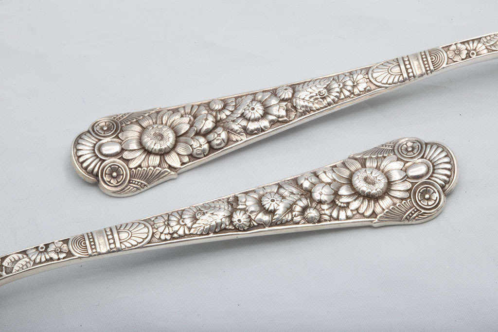 "Rare Pair of Sterling Silver ""Cluny"" Berry Spoons 4"