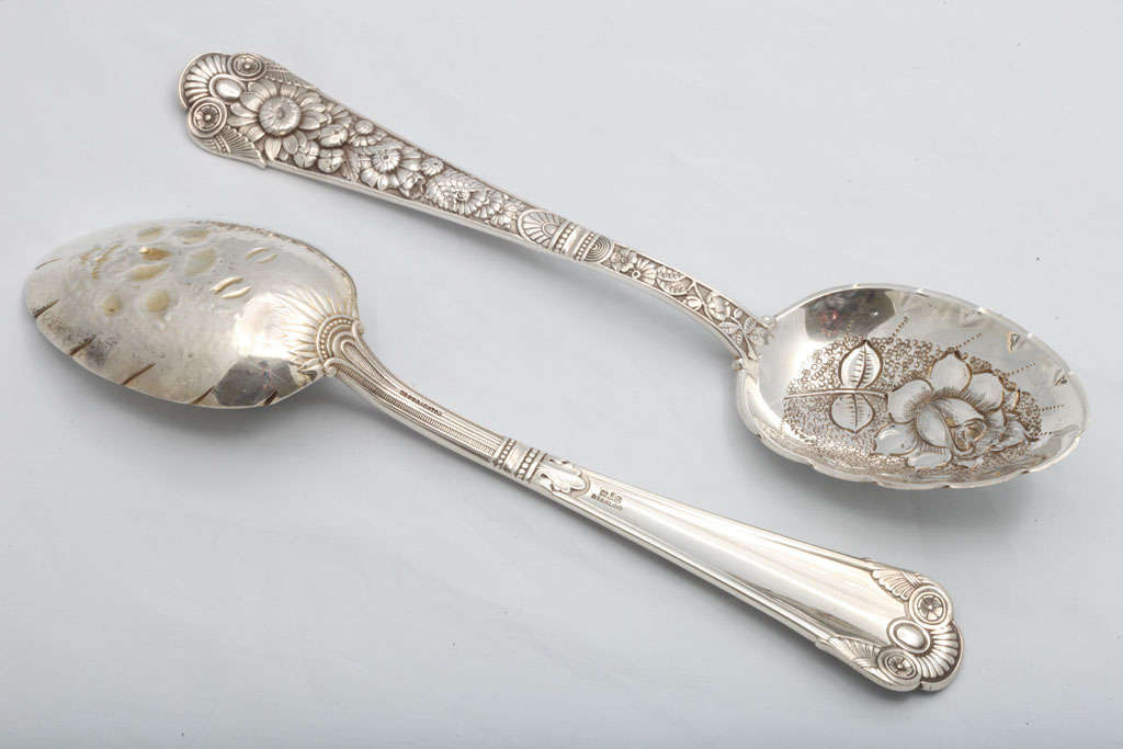 "Rare Pair of Sterling Silver ""Cluny"" Berry Spoons 6"
