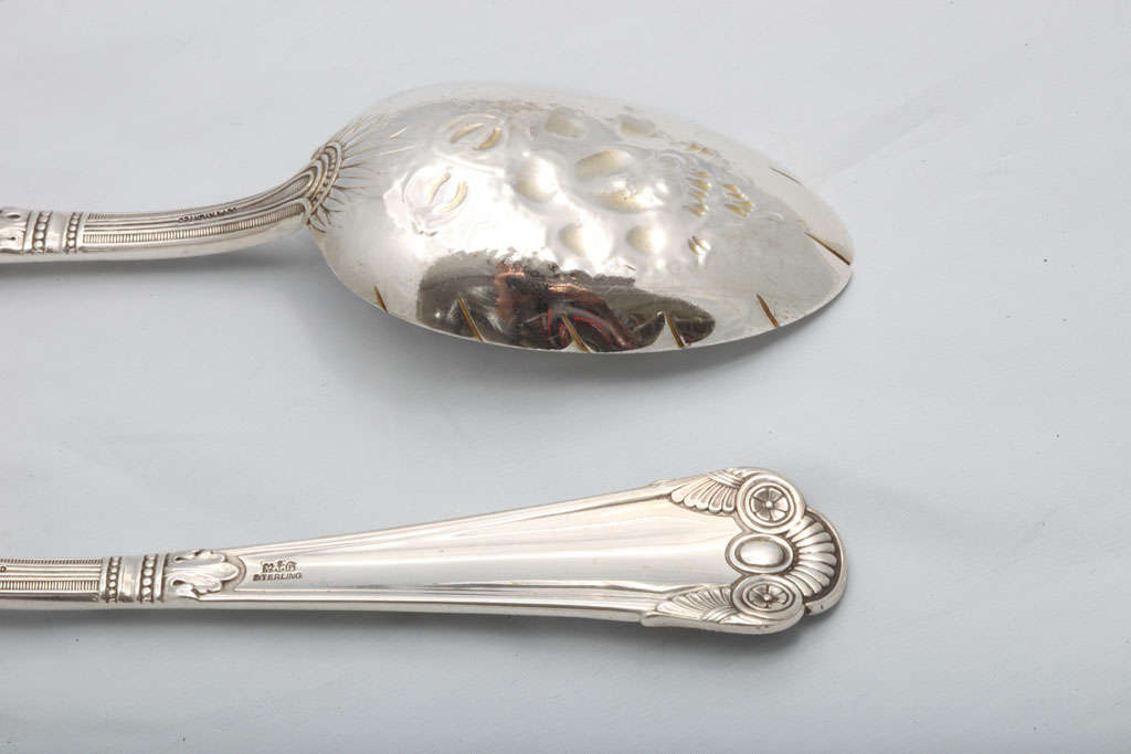 "Rare Pair of Sterling Silver ""Cluny"" Berry Spoons 8"