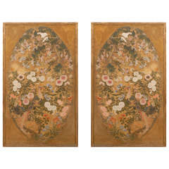 Pair of Large 19th Century Japanese Framed Paintings on Silk