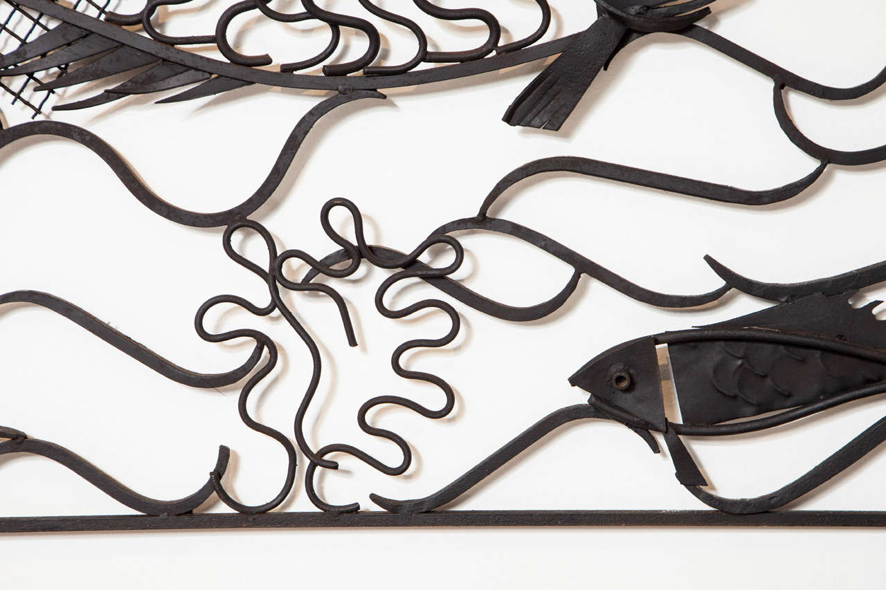Wrought Iron Wall Panels: Unique French 1950s Wrought Iron Decorative Wall Panels At