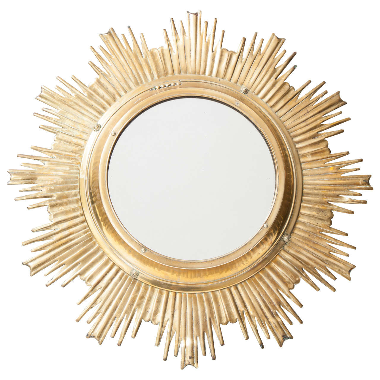 Solid brass high quality sunburst mirror france 1950s for for Sunburst mirror