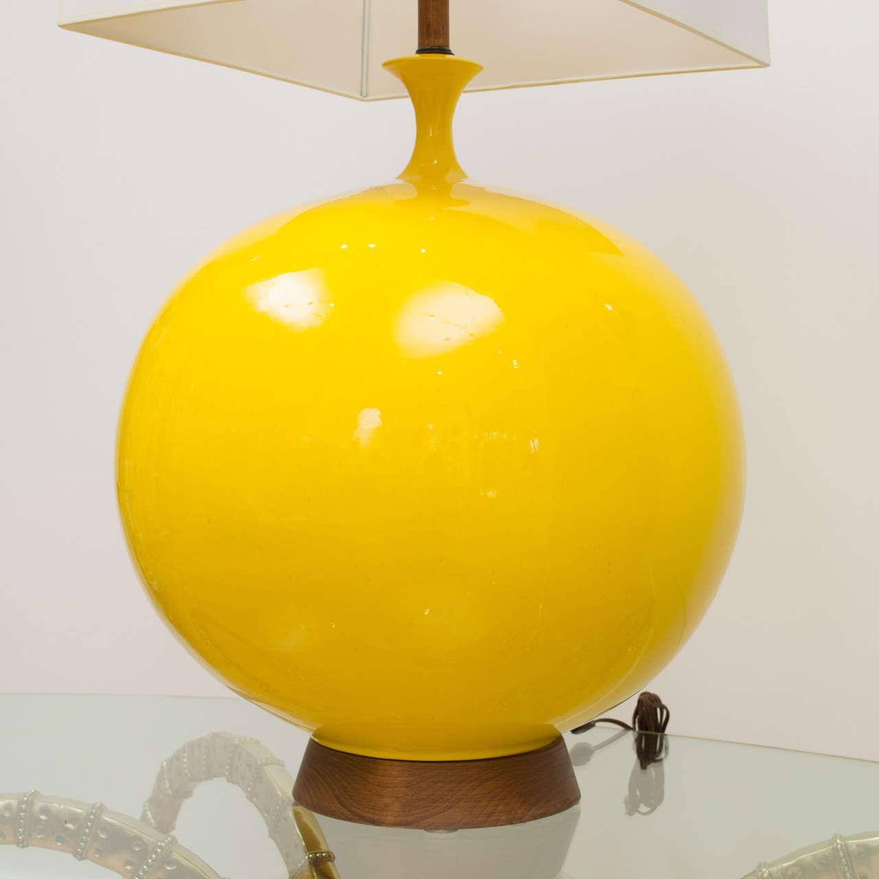 Mid century ginger jar lamp pair at 1stdibs - Vibrant Yellow Lamp For Sale At 1stdibs