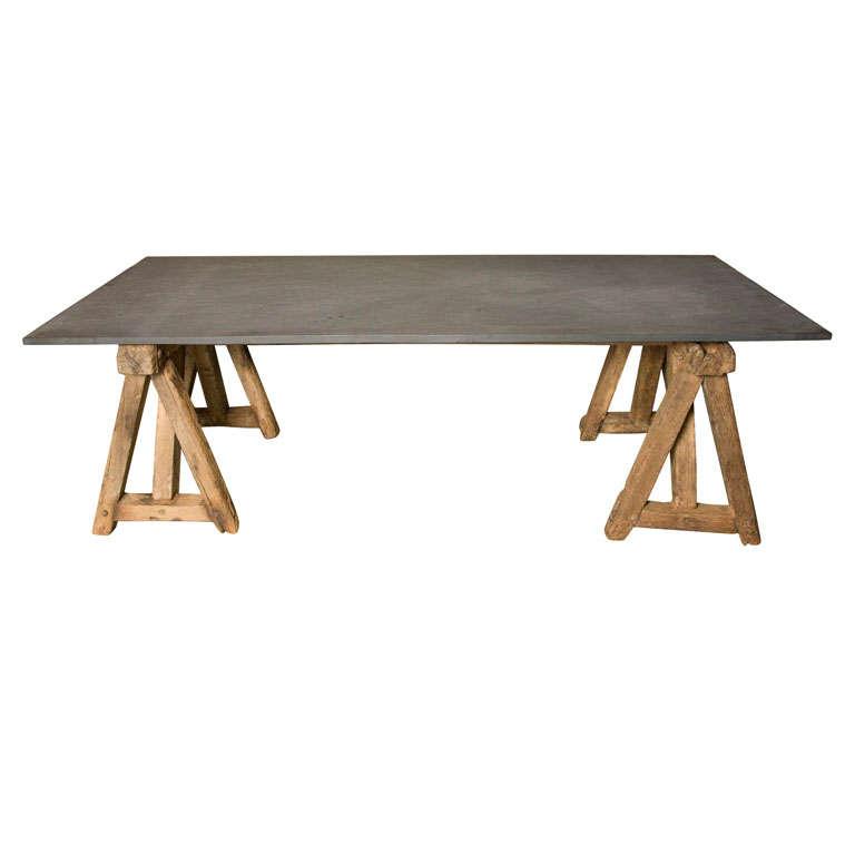 Large Slate Table On Primitive Saw Horse Base At 1stdibs