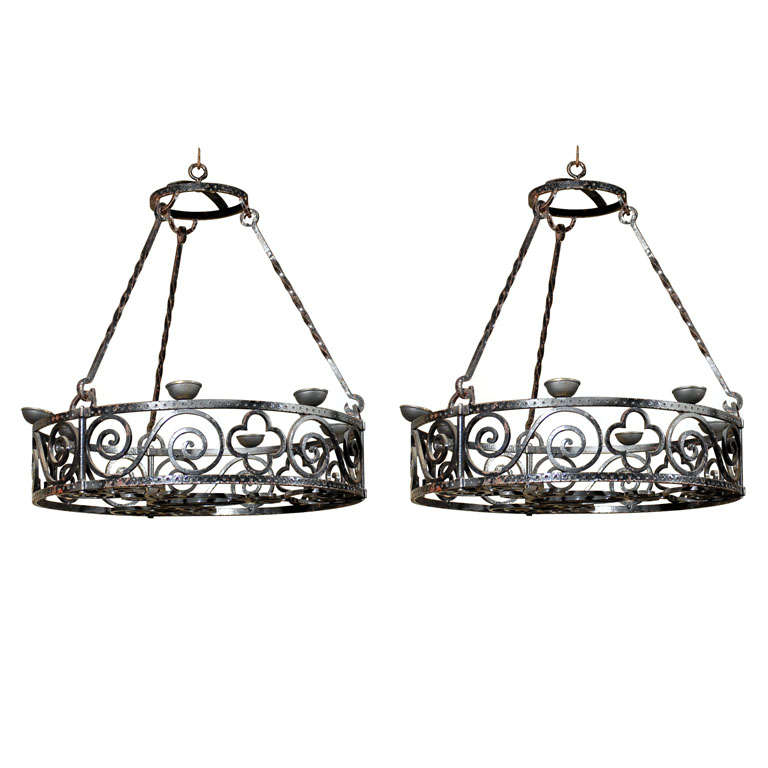 pair wrought iron candle chandeliers at 1stdibs